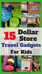 Travel Activities to entertain your kids on your next trip. Pick up these 15 Dollar Store Travel Gadgets and Accessories for your kids. Save money and keep everyone happy using these travel hacks and ideas on your next family vacation. #DollarStore, #TravelHacks, #FamilyTravel