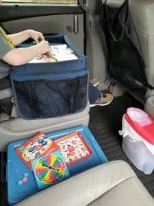 Travel Tray, Activity Box and Garbage Ideas for Road Trips.