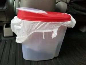 Cereal Container Trash Can for Road Trips