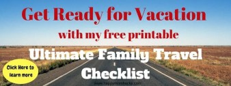 Subscribe to Happy Mom Hacks Newsletter and have access to the Ultimate Family Travel Checklist. Plus great Mom tips and tricks and family travel ideas.