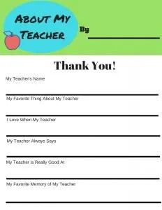 Free Printable for Teacher Appreciation