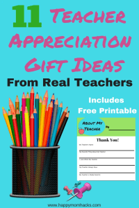 11 Great Teacher Appreciation gift ideas for End of the Year and Holdiay time that teachers really want. These gifts from students include DIY, free printables, and fun gift ideas your teacher will love. #teacherappreciation, #gifts, #teachergift