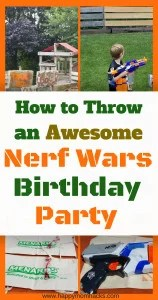 Throw an Awesome Nerf Birthday Party with ideas for games, favors, pintables, nerf targets, bases and more.