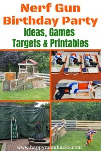 Ultimate Nerf Gun Birthday Party Ideas. Awesome nerf games, cool favors, DIY bases, free printables, and decorations. Learn how to throw a fun and easy Nerf Birthday Party. #nerf, #kidsparties, #birthdayparty, #kids