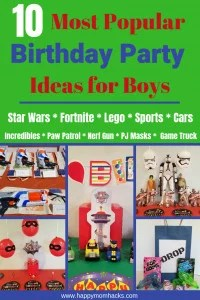 10 Awesome Birthday Party Ideas for Boys. Find cool themes for your party like Star Wars, Nerf Gun, and Fortnite for older kids. For the younger boys find games and theme ideas for Paw Patrol, Lego, PJ Masks and more. Plan the your kids favorite birthday party this year with these easy birthday party ideas. #kidbirthdayparty, #birthdaytheme, #birthdaypartyideas