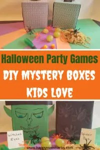 DIY Halloween Party Games for Kids - Mystery Boxes are fun for school parties and parties at home. Toddler to Teens will be exicted to guess what is inside the box. It will be the hit of the party. #halloween #schoolparty #mysterybox #partygames