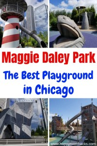 Maggie Daley Park Chicago- Best Things to Do in Chicago with kids. Easy tips to make it a great visit to Maggie Daley Park and Millennium Park. Go ice skating around the Ribbon, climb the rock wall, run through the playground and more. #chicago #thingstodoinchicago #maggiedaleypark #playground
