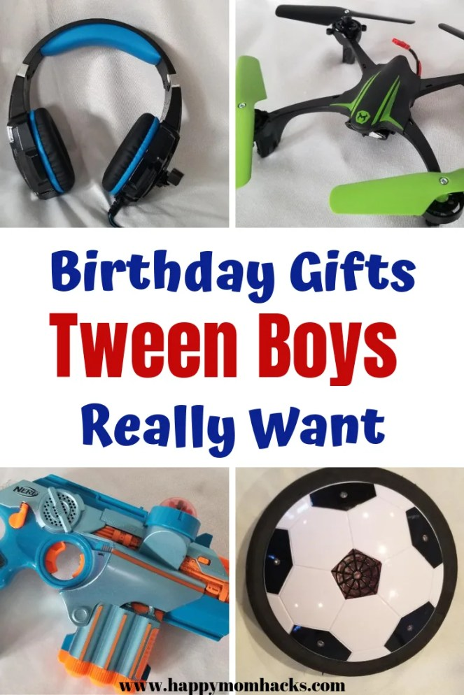 Tween Boys Birthday Gift Ideas. What boys ages 10, 11, & 12 years old really want for their birthday. Don't stress find the perfect gift here. #giftideas #birthdaygift #boygift #tweengifts