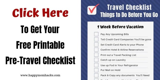 Travel Checklist of 30 Things to Do before Vacation. A free printable travel checklist pdf so that you never forget what to do before vacation again! Perfect list for preparing for a trip. Download it now and be ready. #travelchecklist #freeprintable #familytravel #vacationchecklist #pretravelchecklist #travetips