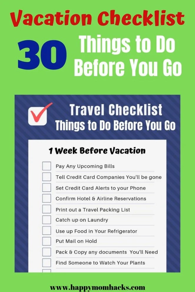 Pre-Travel Checklist - All the things you need to do when preparing for a trip. Find in this article a free printable Travel Checklist PDF.  Plus the best tips on what to accomplish before vacation so you can relax and have fun! #travelchecklist #vacationchecklist #familytravel #printable #travetips