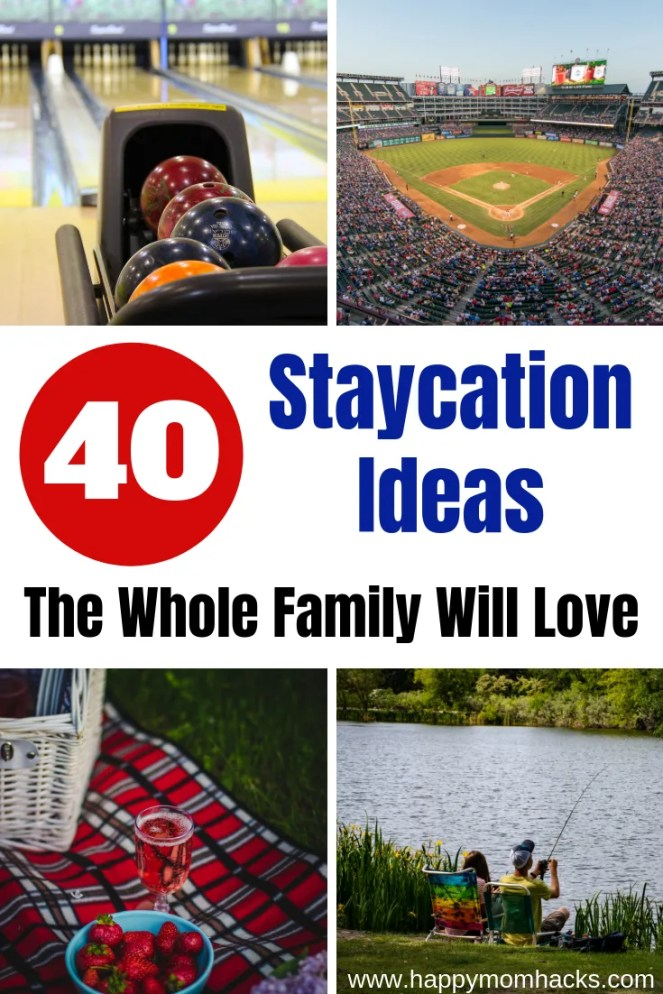 Ultimate List of Staycation Ideas for families. 40 activities for kids to keep them busy in Summer, spring break and winter break. Things to do at home with kids and places to visit in your home town. Everything you need for a great family staycation. #kids #kidsactivities #staycation #familyvacation
