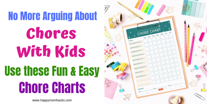 Easy Chore Charts for Kids. Get Free printable Chore charts by age. Find tips on how to get your kids to do chores without whining! #chorecharts #kids #parentingtips #chores