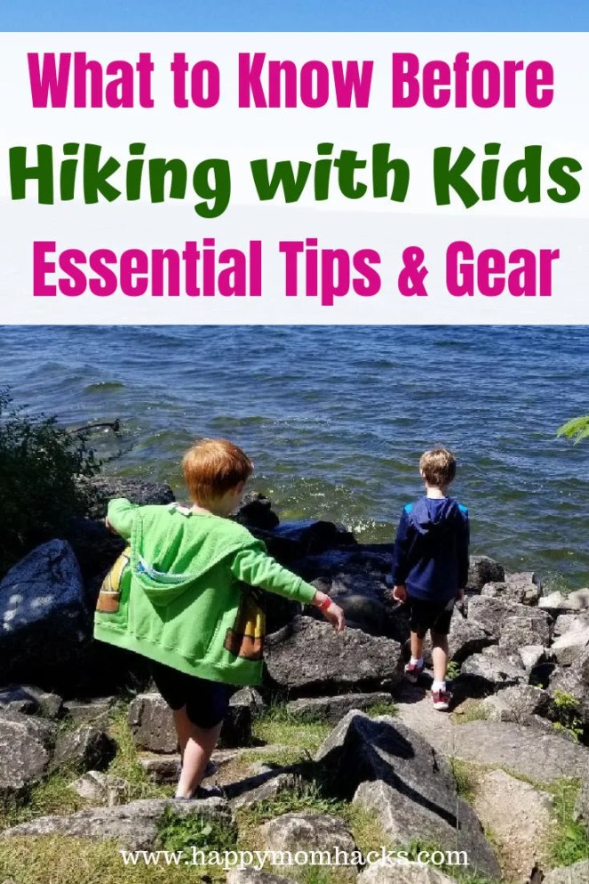 Hiking with Kids the Best hiking Tips and Gear. Get a free hiking checklist and fun activities to do like nature scavenger hunts to keep kids excited about hiking. Make it an awesome day for your family with these 10 Easy Tips.  #hiking #travelwithkids #familytravel #hikinggear #hikingtips #hikingwithkids