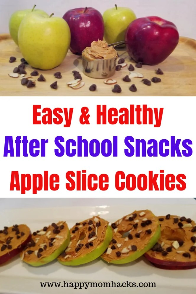 Healthy After School Snacks for kids. Easy & Delicious Apple Slice Cookies. Make ahead and pull them out after school. Perfect snack food for kids and adults. #aftershoolsnack #afterschool #snack #snackforkids #kids #appleslicecookies