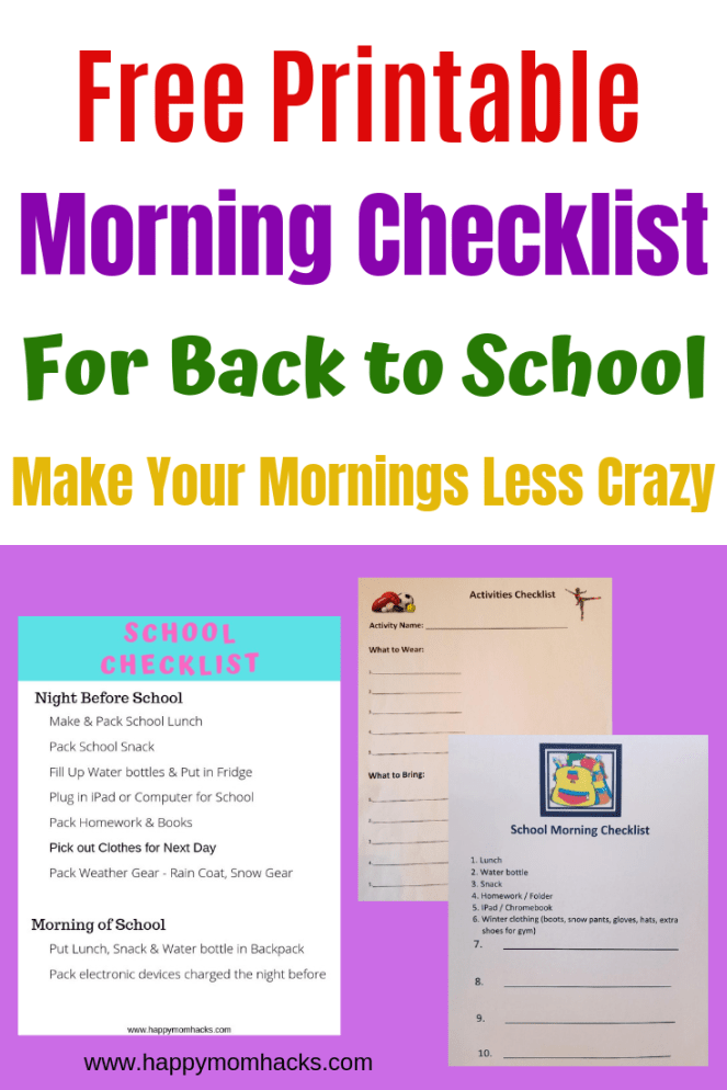 Free Printable Morning routine & After school activity Checklists for kids and moms. Plus how to get organized at home to make back to school a stress free time. Easy kitchen organization for school lunches and snacks too! Make this an easy school year. #freeprintable #printable #organization #morningroutine  #backtoschoolorganization