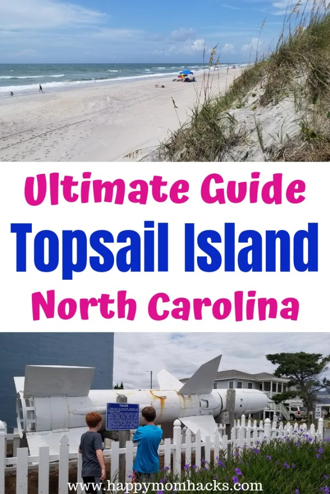 Ultimate Guide Topsail Island North Carolina. The Best Things to do and see on the island with families. Visit the beautiful beaches, turtle sanctuary, missile towers, fishing, fun restaurants and more. Plus tips on what to know about the island before you go.  #northcarolina #topsailisland #familyvacation #beaches #turtles, #traveltips #travelwithkids #vacationideas