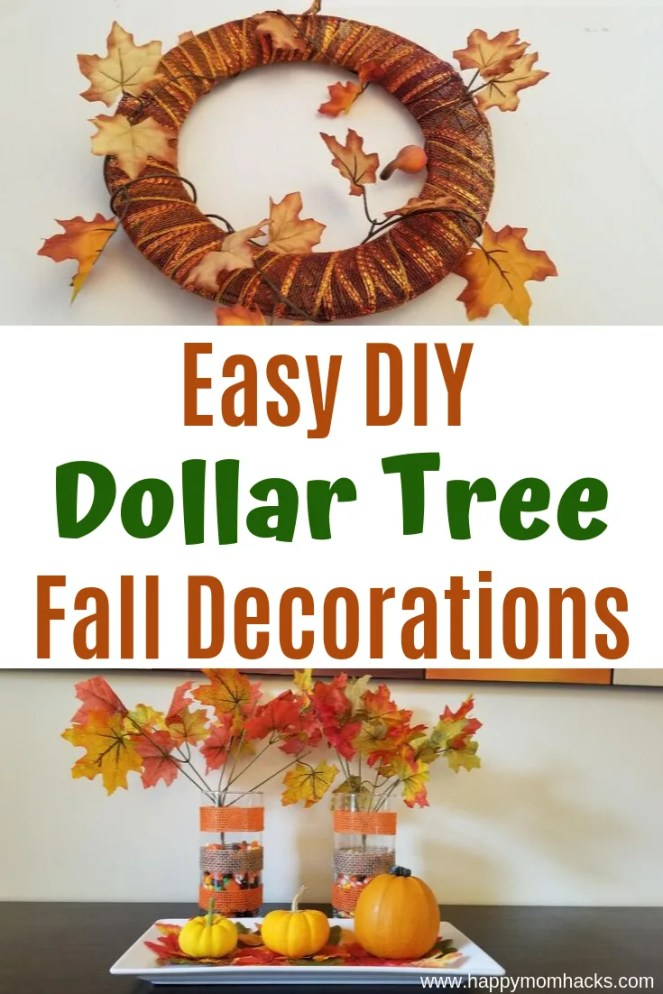 Cheap & Easy DIY Fall Decorations from Dollar Tree. No need to be crafty so simple anyone can make these cute autumn decorations.  Find ideas for Kids to help too. Perfect for Halloween and Thanksgiving decor. #fall #autumn #falldecorations #dollartree #thanksgiving #halloween