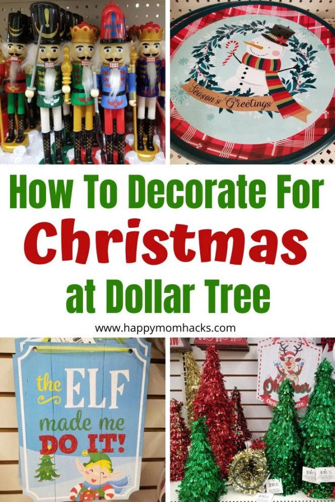 Decorate for Christmas on a Budget at Dollar Tree. Cute DIY Holiday decoration ideas for your home indoors and outdoors. Plus hostess gift ideas and stocking stuffers. Be ready for Christmas. #christmas #Christmasdecorations #homedecor #gifts #hostessgifts #holidaygiftideas #stockingstuffers #dollartree