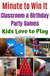 20 Unique Party Games in these easy minute to win it games for kids. Perfect for Family Fun Nights, Groups, birthday & school parties. Best Indoor Games