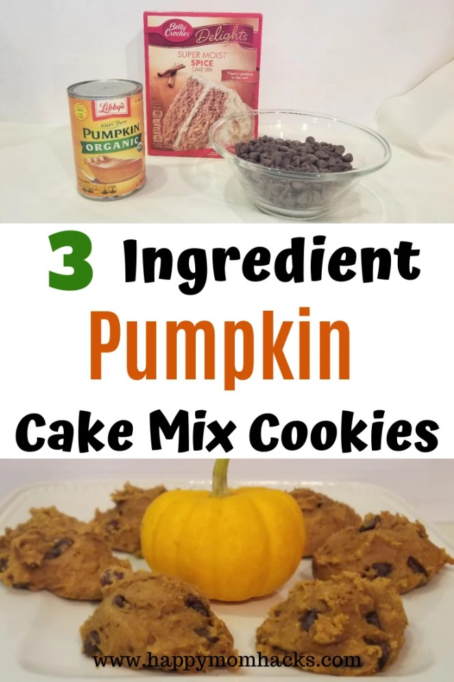 3 Ingredient Cake Mix Cookies Recipe. Delicious Pumpkin Chocolate Chip Cookies that couldn't be easier to make. Perfect for Fall, Halloween and Thanksgiving desserts. Or any time of year for Pumpkin lovers. #cookies #easydesserts #cakemixcookies #simpledesserts #halloween #thanksgivingdessert