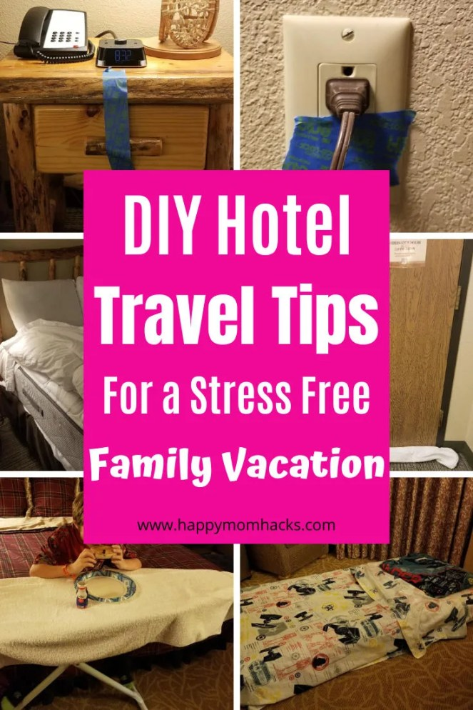 Travel Tips & Hacks with Kids. Tips & Tricks to make staying in a hotel room easier for family travel. How to make food in your room, cover outlets, block out the sun and noise and so much more. Check it out! #traveltips #travelhacks #travelwithkids #hotelhackswithkids #familytravel #familyvacation