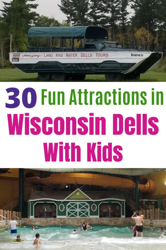 Best Wisconsin Dells Attractions with Kids. Fun Things to do the whole family will love in Winter and Summer months. Tips on indoor & outdoor waterparks, resorts, downtown and more. Be ready for an awesome vacation. #wisconsindells #wisconsindellsattractions #familyvacation #thingstodowisconsindells #waterparks