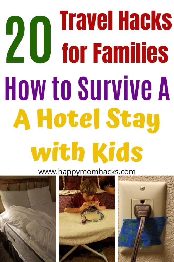 Genius Hotel Travel Hacks for Kids. DIY travel tips & tricks for an easy hotel stay on family vacation. Make your next road trip or vacation awesome and stress free. #hotelhacks #familyvacation #traveltips #travelhacks