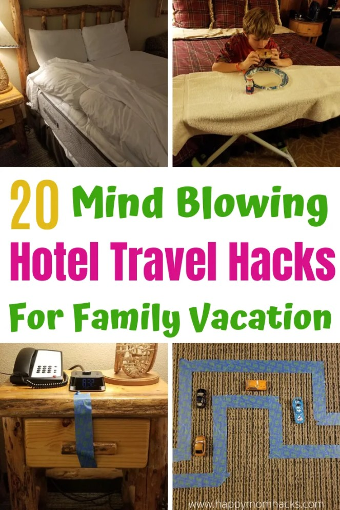 Awesome Hotel Travel Hacks with Kids. Best Tips & Tricks for family travel. De-stress your next family vacation with simple DIY hacks to do in your hotel room. #hotelhacks #travelhacks #traveltips #travelwithkids #familyvacation
