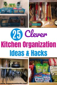 25 Clever Kitchen Organization Ideas. Easily organize your cabinets, pantry, pots & pans and drawers. Awesome Kitchen gadgets that will make your life easier. Check out how to get organized today! #kitchenorganization #organization #householdtips #kitchengadgets