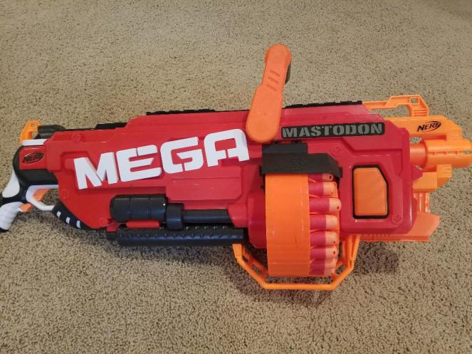 Huge Nerf N -Strike Mega Mega Mastodon is a favorite for kids. Read the Nerf Review to learn more.