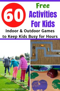 60 Free Activities for Kids to play at home with both indoors & outdoor games. Keep the kids entertained after school or on school breaks with this fun list of  free things to do with kids. No Screen time just family fun! #activitiesforkids #kidsactivities #thingstodowithkids #indoorgames #outdoorgames #kids