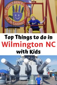 Top Things to do in Wilmington North Carolina with Kids. Explore the historic downtown, beaches, museums, Battleship North Carolina and delicious restaurants. Find out what you can't miss in Wilmington North Carolina.  #northcarolina #wilmingtonnc #travelwithkids #thingstodowilmington