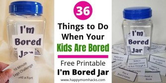 Free Printable I'm Bored Jar with Indoor & Outdoor Kids Activities. Keep kids busy and happy when schools out. Kids can do these while you work from home too! Stop hearing I'm Bored from your kids! #indooractivitieskids #outdooractivities #indoorgames #outdoorgames #imboredjar #boredombuster