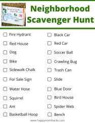 Free Printable Neighborhood Scavenger Hunt for Family Game nights at home. Just step out your front door with this fun scavenger hunt for kids and find all the items together.