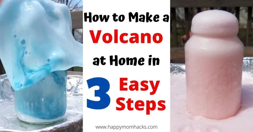 How to make a Volcano Science Experiment for kids at home. Just 3 easy steps with items you have in your house. All you need is a jar, baking soda, dish soap, food dye and vinegar. Kids will be in awe and want to do it over and over again. #scienceexperiment #stem #volcano #kidsscience #kidsactivity