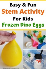 Frozen Dinosaurs Eggs Stem Activity for Kids at home. Super Easy science experiment with balloons, mini figures and water. Kids will love melting the ice to discover the dinosaurs hidden inside. Fun outside for summer and indoors on rainy days. #stemactivity #frozendinosaureggs #scienceexperiment #science #dinosaurs #frozeneggs