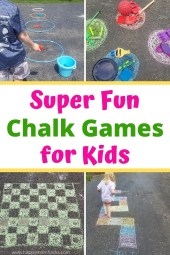 Awesome Chalk Games & Ideas for your sidewalk and driveway. Keep kids outdoors and entertained with these easy games all summer long.  #chalkgames #gamesforkids #kidsactivities #sidewalkchalkgames