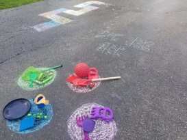 Sidewalk Chalk games for kids with hopscotch, color finds, board games tick tac toe and more.
