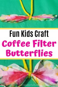 Fun Coffee Filter Art to Make Butterflies crafts for kids. Toddlers to elementary age kids will love creating and imagining up designs for their beautiful butterflies. A fun activity to keep the kids busy at home. They'll want to do it over and over again. #kidscraft #craftforkids #butterflies #butterflycraft #activityforkids