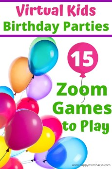 Virtual Birthday Party Ideas for Kids with 15 Zoom Games. Don't miss your kids birthday party still throw it with fun games on zoom for all the kids to play. They will enjoy seeing each other and laughing while celebrating your child's birthday. Use it to connect with Grandparents or family faraway to celebrate too. Find out how easy it is to do! #virtualbirthday #birthdaypartyforkids #kidspartygame #zoomforkids #virtualgames #kidsbirthday