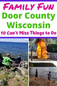 Best Things to Do in Door County Wisconsin with Kids. Your family will love visiting this beautiful area of Wisconsin with fun activities from Summer to Winter. Enjoy beaches, state parks, cute shops, fish boils, museums & more. Find out what your family can't miss in Door County. #doorcounty #wisconsin #familyvacation #travelwithkids #doorcountywi