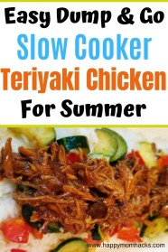 Easy Crock Pot Teriyaki Chicken for Summer. 3 Ingredient Dump and go dinner idea with chicken and teriyaki sauce. Use your Slow Cooker to make a delicious dinner without heating up the house. #crockpotdinner #slowcooker #teriyakichichen #familydinnerideas #dinnerideas