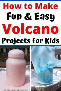 Easy Volcano Project for Kids a Stem experiment at home. Make these cool Volcanoes in 3 Easy Steps with baking soda, dish soap and vinegar. Find out how easy they are to make. #volcano #STEM #scienceexperiment #volcanoproject