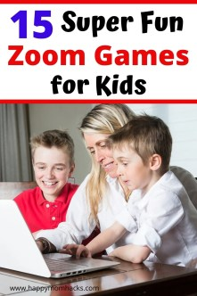 Free Zoom Games for Kids to play with friends & family. Easy games for social distancing, or birthday parties when your apart. 15 fun interactive games families will love playing together from trivia, to pictionary,  to battleship and more. #trivia #partygames #zoomgames #gamesforkids #zoomforkids