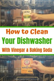 How to Quickly Clean Your Dishwasher with Vinegar and Baking soda. Find out the best ways to clean your filter and disinfect the whole dishwasher. Bonus it will get rid of any smell in your dishwasher too! #dishwasher #cleandishwasher #cleaningtips #cleaninghacks #vinegar #bakingsoda #cleaning