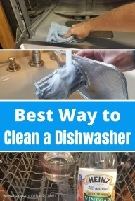 Best Ways to Clean a Smelly Dishwasher with Vinegar & Baking Soda. Learn how to clean a dishwasher in quick easy steps from cleaning your filter to disinfecting the whole dishwasher. You won't believe how easy it is to do! #cleaning #cleaningtips #dishwasher #vinegar #bakingsoda #dishwashercleaning #cleaninghacks