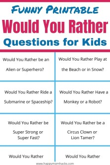 Funny Would You Rather Questions for Kids. A Free Printable game for kids to play at Birthday parties, virtual parties or school parties. The questions are great for school brain breaks and even as a fun road trip game for kids. Print out this free pdf and start playing this game today. #partygame #gameforkids #wouldyourather #freeprintable #pdf