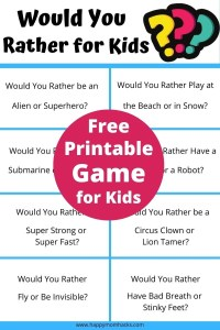 Free Printable Would You Rather Questions for Kids. This funny party game is great at kids birthdays, holidays, school events and more. It's hilarious to hear the kids answers. Print out the PDF Would You Rather Cards and play this at your next party. #partygame #freeprintable #wouldyourather #kids #kidsgame #birthday #holidays #schoolgame