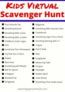 Fun Zoom Scavenger Hunts for Kids. Free Printable Virtual scavenger Hunt ideas for students, teachers and parents. Exciting Zoom games for, classrooms, virtual birthday party, school brain break or family holiday party. Learn how to play and print our your free printable scavenger hunt list. It's a blast! #freeprintable #scavengerhunt #scavengerhuntideas #kids #students #virtualparties #zoomgames