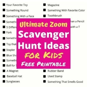 Ultimate Zoom Scavenger Hunt List for Kids. A fun party game for zoom classrooms, virtual birthday parties and family holiday parties. Print out this free Scavenger Hunt List & Clues and get started playing today! #zoomgame #virtualgames #partygames #scavengerhuntforkids #scavengerhuntideas #scavengerhuntlist